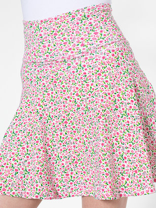 American Apparel Floral Printed Cotton Spandex Jersey High-Waist Skirt