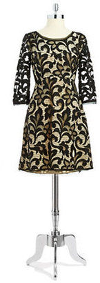 ABS by Allen Schwartz Lace Overlay Dress with Bell Sleeves