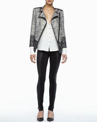 Rachel Zoe Trudie Leather-Panel Skinny Pants