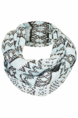 Topshop Mint knitted snood with all-over fairisle pattern. 100% acrylic.