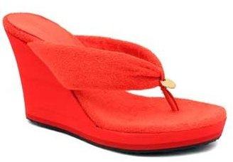 "Jimmy Choo Pose"" Tangerine Terry Cloth Wedge Thong Sandal"