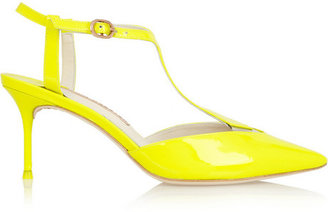 Webster Sophia Ida neon patent-leather T-bar pumps