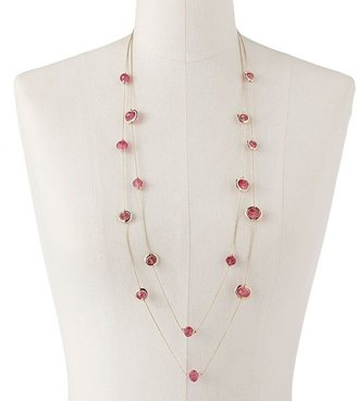 Apt. 9 gold tone bead long multistrand station necklace