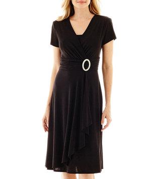 R & M Richards R&M Richards Short-Sleeve Jeweled-Pin Faux-Wrap Dress $80 thestylecure.com