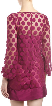 Laundry by Shelli Segal Polka-Dot Lace Shift Dress, Red Plum