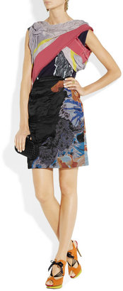 Michael Van Der Ham Asymmetric draped mixed-print silk dress