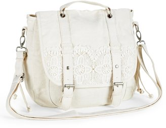 Aeropostale Crochet-Trim Convertible Messenger Backpack