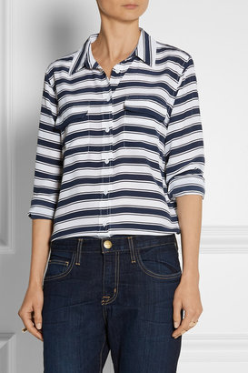 Equipment Slim Signature striped washed-silk shirt