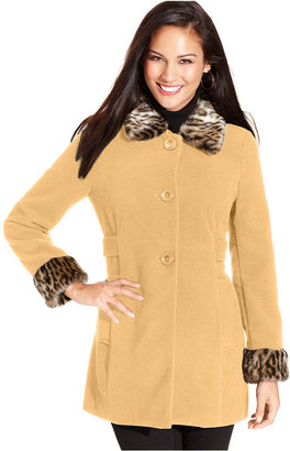 Style&Co. Coat, Faux-Fur-Trim Cuffed, Also available in Plus and Petite