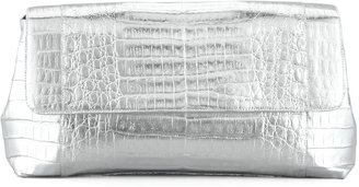 Nancy Gonzalez Large Metallic Crocodile Clutch, Silver
