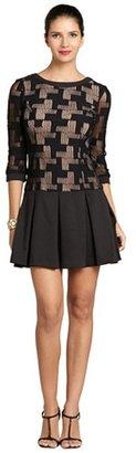 ABS by Allen Schwartz black three quarter sleeve pleated skirt dress