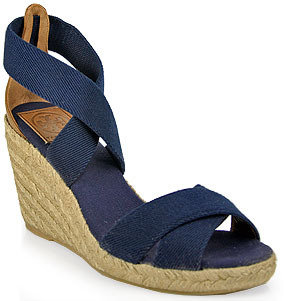 Tory Burch Adonis - Canvas Espadrille Wedge Sandal in Navy