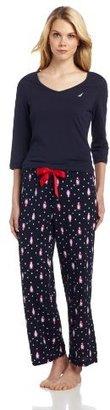 Nautica Sleepwear Women's Holiday Pajama Set, Navy Penguin, Small