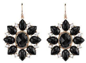 Irene Neuwirth Black Onyx and Diamond Flower Earrings - Rose Gold