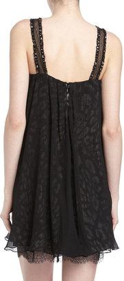 BCBGMAXAZRIA Crystal Embellished Leopard Print Shift Dress, Black