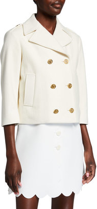 RED Valentino Double Breasted Wool-Blend Jacket