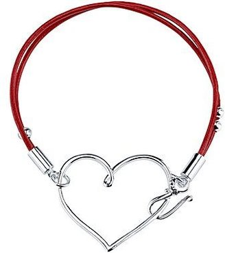 JCPenney Red Leather Pure Silver-Plated Heart Adjustable Bracelet