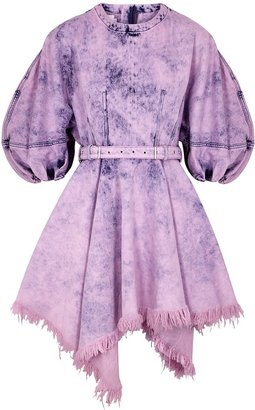 Marques Almeida Purple Bleached Belted Denim Mini Dress