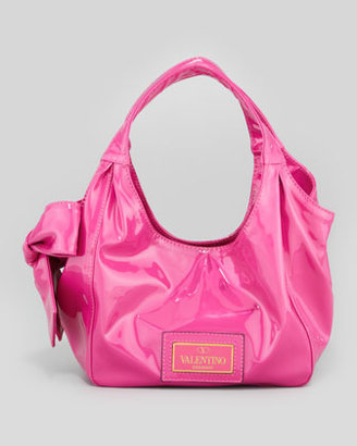 Valentino Nuage Medium Lacquered Bow Hobo Bag, Med Pink
