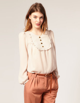 Asos Button Front Bib Smock Top