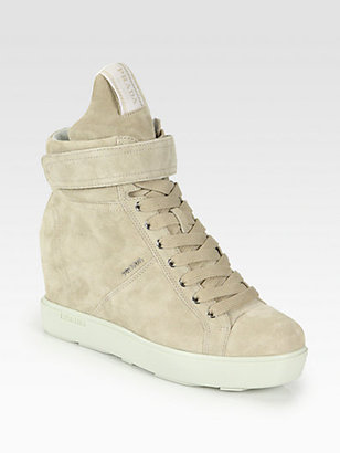 Prada Suede Lace-Up Wedge Sneakers