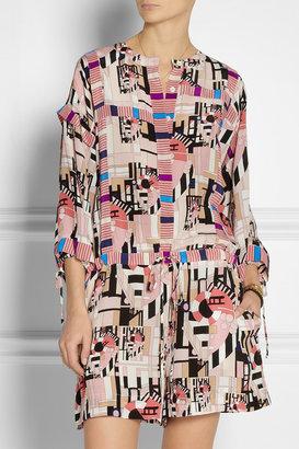 See by Chloe Geometric-print silk playsuit