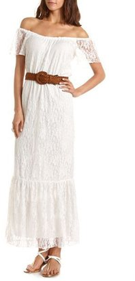 Charlotte Russe Belted Lace Maxi Dress
