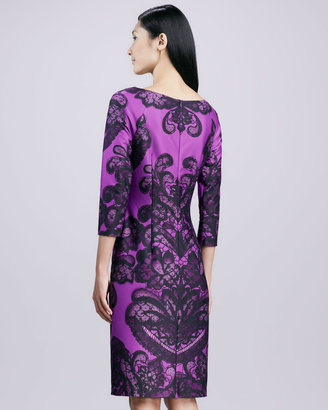 David Meister Boat-Neck Printed Sheath Dress, Purple