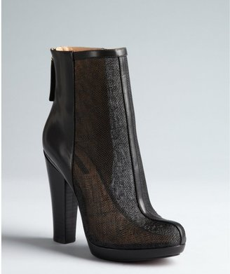 Rachel Zoe black leather and sheer mesh mixed media 'Maddy' ankle boots