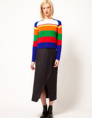 J.W.Anderson J W Anderson Long Wrap Skirt in Pinstripe Wool