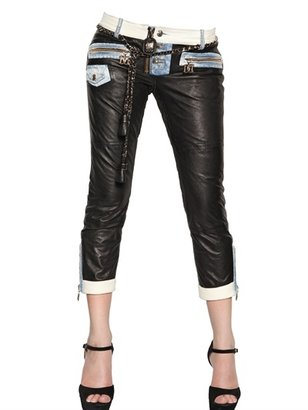 DSquared Leather With Denim Insert Trousers