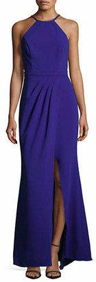 Xscape Evenings Halter Neck Column Slit Gown