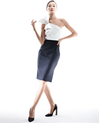 Carolina Herrera Faille Cocktail Dress with Bow