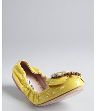 Miu Miu Sunflower Patent Leather Crystal Embellished Bow Ballet Flats