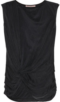 Halston Draped washed-cupro top