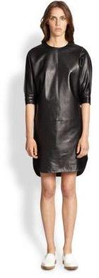 Alexander Wang Leather Dolman-Sleeved Dress