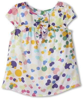 Benetton Kids - Girls' Polka Dot Viscose Shirt (Toddler/Little Kids/Big Kids) (Yellow/Teal/Green/Purple/Coral) - Apparel