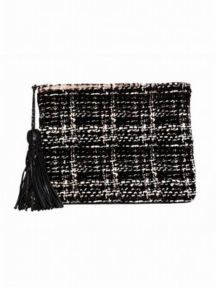 Simone Camille The Dash Clutch In Houndstooth Kangaroo Hair
