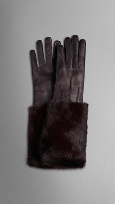 Burberry Mink Detail Leather Gloves