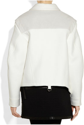 Proenza Schouler Asymmetric leather-coated woven cotton jacket