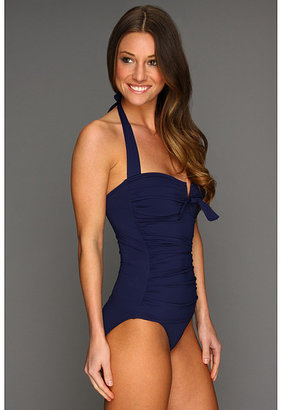 Tommy Bahama Pearl Solids Shirred Halter Cup One-Piece w/ Front Ties