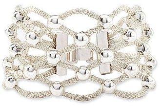 Nicole Miller nicole by Silvertone Mesh Bead Bracelet