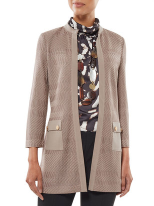 Misook Ponte Trim & Pocket Detail Knit Jacket