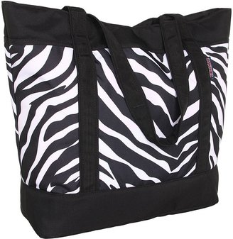 JanSport Emma Tote (Black/White/Fluorescent Pink Miss Zebra) - Bags and Luggage