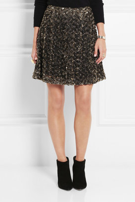 ALICE by Temperley Donna lamé rosette-appliquéd tulle mini skirt
