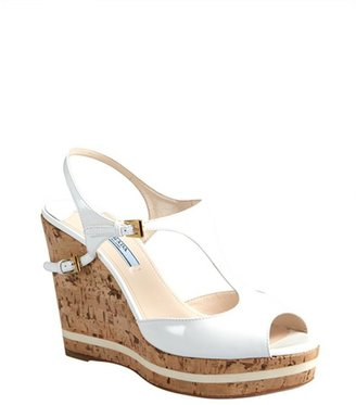 Prada white patent leather and cork peep toe wedges