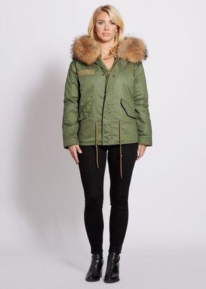 Popski London Parka Jacket With Raccoon Fur Collar Natural