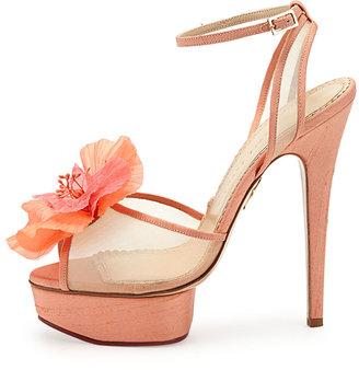 Charlotte Olympia Leila Flower Platform Sandal, Peach