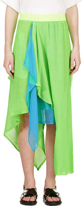 Yohji Yamamoto Green Draped Asymmetrical Hybrid Skirt $1,525 thestylecure.com