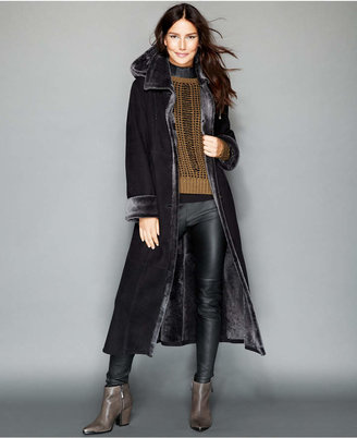 The Fur Vault Hooded Shearling Maxi Coat $4,295 thestylecure.com